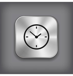 Clock icon - metal app button vector