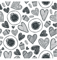 coffee cup hearts and cake seamless vector image