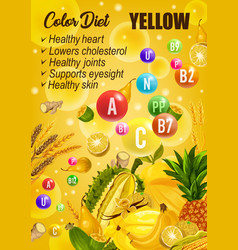 Color detox diet yellow day food vector