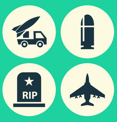 Combat icons set collection of slug rip vector