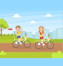 Cute boy and girl riding bikes children walking vector