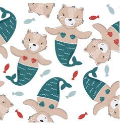 Cute cat mermaid seamless pattern kids background vector