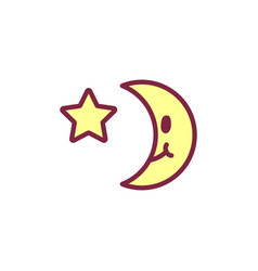 cute icon happy yellow crescent vector image