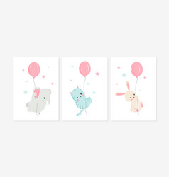 Cute posters with little rabbit elephant and cat vector