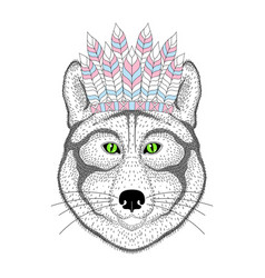 Cute wolf portrait with war bonnet on head vector