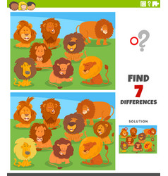 Differences educational task with cartoon lions vector