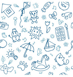 Doodle children drawing background seamless vector
