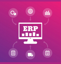erp system icons enterprise resource planning vector image