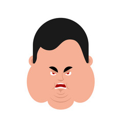 fat angry face emotion avatar stout guy evil vector image