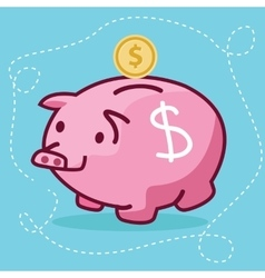 fat piggy bank coin insert drawing flat fun vector image