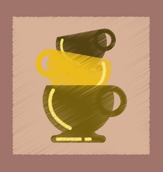 Flat shading style icon three cups vector