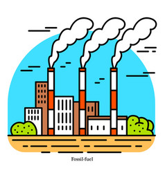 Fossil fuel power plant thermal powerhouse vector