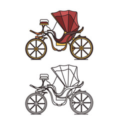 french vintage carriage retro buggy for marriage vector image