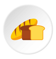 Fresh bread icon circle vector