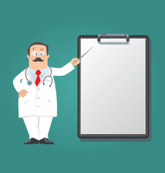 Funny doctor with clipboard design template vector