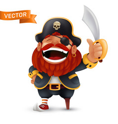 funny laughing red-bearded pirate character vector image