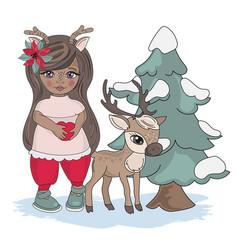 girl deer new year color set vector image