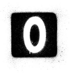 graffiti o font sprayed in white over black square vector image