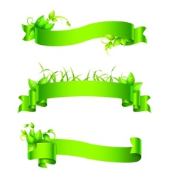 Green Empty Ribbons and Banners vector image