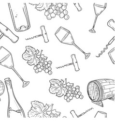 Hand drawn pattern of wine vector