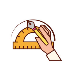 Hand with fountain pen protractor graphic design vector