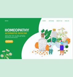 Homeopathy alternative herbs medicine landing vector