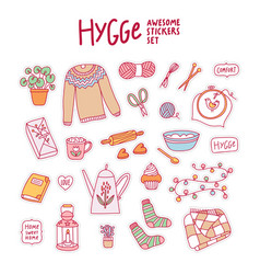 Hygge awesome stickers set vector
