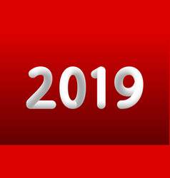 Inflated number white figures of 2019 new year vector