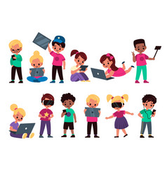Kids with gadgets cute funny children use vector