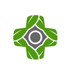 leaf plus medical symbol logo design vector image