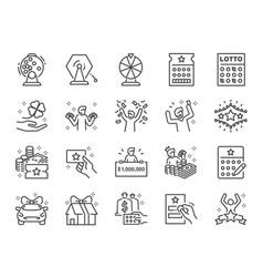 lotto line icon set vector image