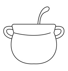 Magic cauldron icon outline style vector