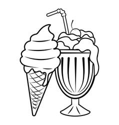 Milk shake and ice cream black and white vector