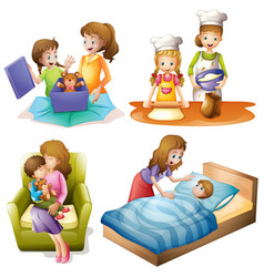 Mother and child doing different activities vector