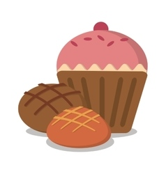 Muffin and bread of bakery design vector