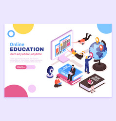 Online education isometric poster vector
