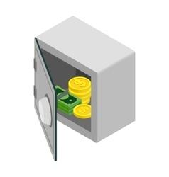 Open safe with money coin and banknote icon vector image