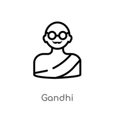 Outline gandhi icon isolated black simple line vector