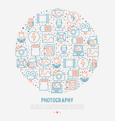 Photography concept in circle vector
