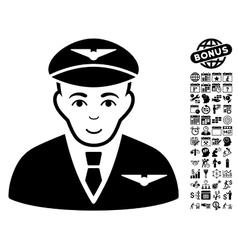 Pilot Flat Icon With Bonus vector
