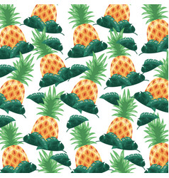 pineapple tropical fruits foliage background vector image