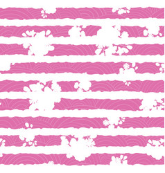 Pink and white floral textured stripes pattern vector