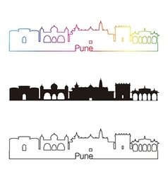 Pune skyline linear style with rainbow vector