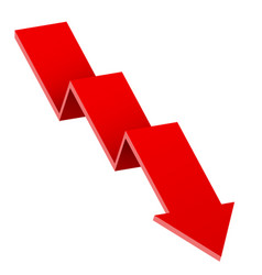 red down arrow financial graph vector image