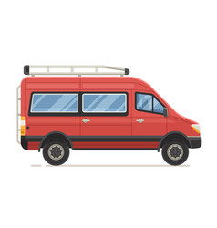 red family minivan in flat design vector image