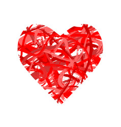 Red heart shape made paint and brush strokes vector