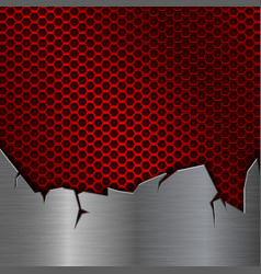 Red perforated texture with torn iron over vector