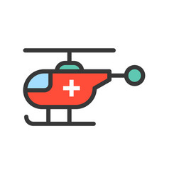 rescue helicopter filled outline icon vector image