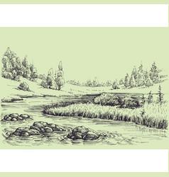 River flow nature landscape vector