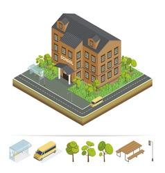 School Building Modern School Urban Scene vector image